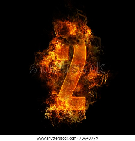 The number 2 made from blazing fire