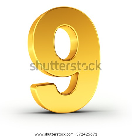 The number nine as a polished golden object over white background with clipping path for quick and accurate isolation. - stock photo