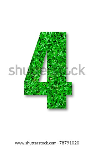 The Number of four green grass isolated on white background