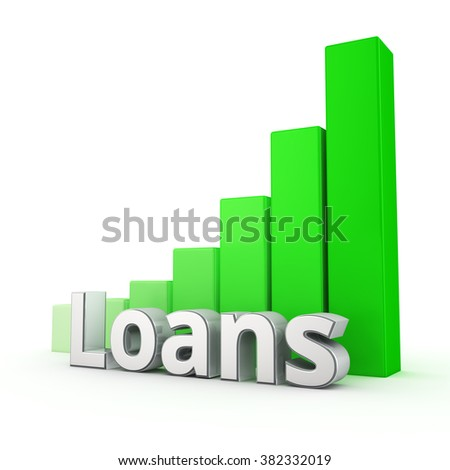 The number of loans is growing rapidly. Word Loans against the green rising graph. 3D illustration image - stock photo