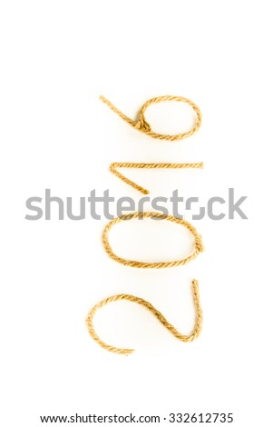 The number 2016 of rope on a white background. Christmass theme. Billet for postcard or calendar. Toned.