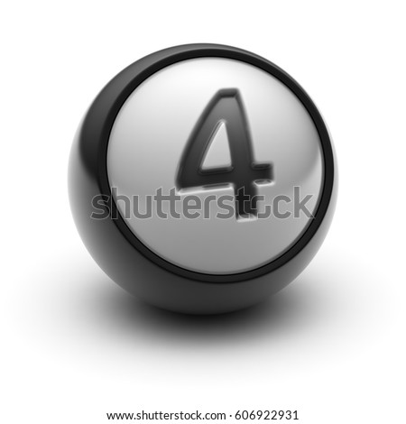 The Number on The black Ball. 3D illustration.