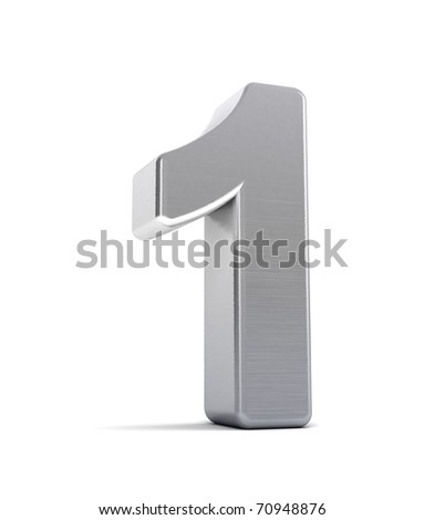 The number one as a brushed chrome object over white - stock photo