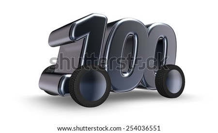 the number one hundred on wheels - 3d illustration - stock photo