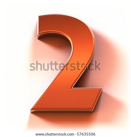 The Number 2 - Red Metal - stock photo