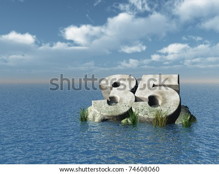 the number thirty five at the ocean - 3d illustration