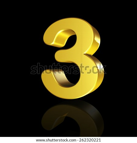 The number three with the effect of 3D isolated on black background - stock photo