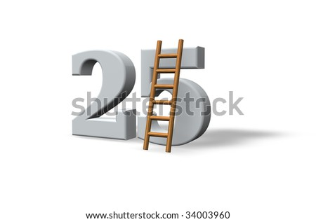 the number twenty five - 25 -  and a ladder on white background - 3d illustration - stock photo