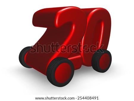 the number twenty on wheels - 3d illustration - stock photo