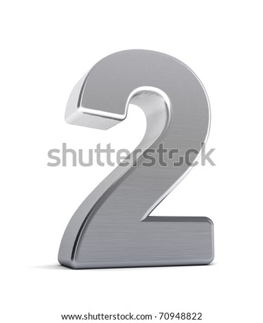 The number two as a brushed chrome object over white - stock photo