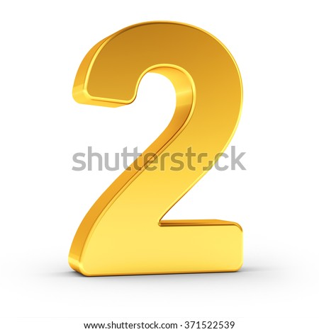 The number two as a polished golden object over white background with clipping path for quick and accurate isolation. - stock photo