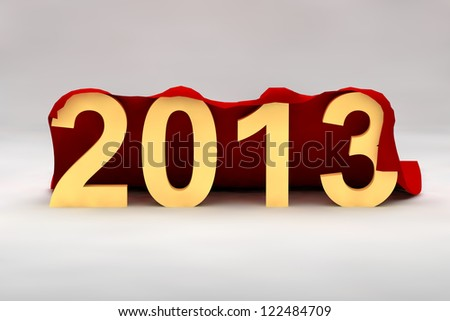 The number 2013 written in gold waits under a red cover and is ready to be unveiled as New Year approaches - stock photo