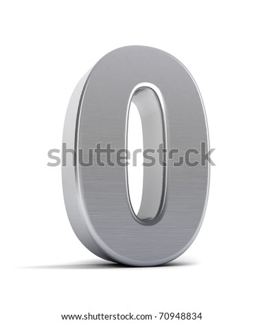 The number zero as a brushed chrome object over white - stock photo