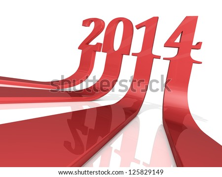 "The numbers ""2014"" as three dimensional arrows. - stock photo"