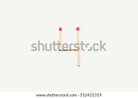 the numbers made of matches four - stock photo