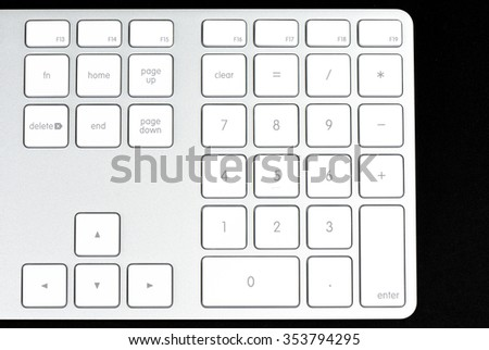 The numbers on modern and stylish keyboard for a computer  Ruler on black background.   - stock photo