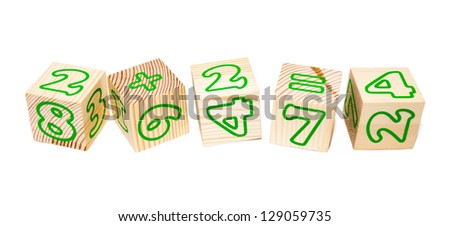 The Numbers wooden cubes isolated on white
