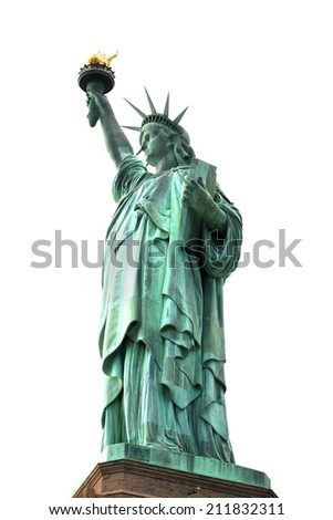 The NY Statue of Liberty isolated on white - stock photo