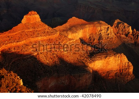 the O'neill butte at the Grand Canyon National Park, Arizona. - stock photo