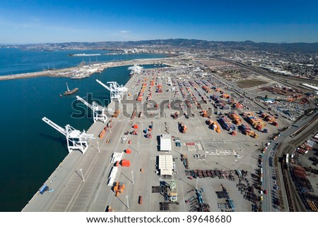 The Oakland Outer Harbor aerial view - stock photo