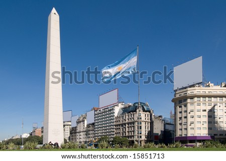The Obelisk a major touristic destination in Buenos Aires, Argentina - stock photo