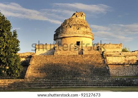 The observatory at Chichen Itza, mexoco, Yucatan - stock photo