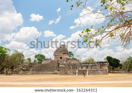"The observatory ""El Caracol"" at Chichen Itza, Mexico - stock photo"
