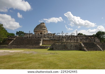 The Observatory (El Caracol) inside the maya archeological site of Chichen Itza, Mexico - stock photo
