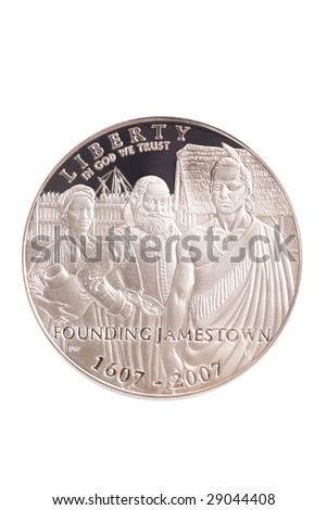The obverse of the silver US coin (dollar) commemorating the 400th anniversary of Jamestown. - stock photo