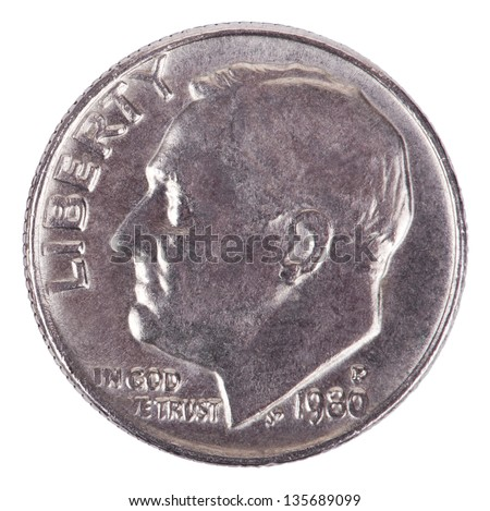 The obverse side of a USA 10 cents (Dime) coin, depicting president's Franklin D. Roosevelt profile portrait. Isolated on white background. - stock photo
