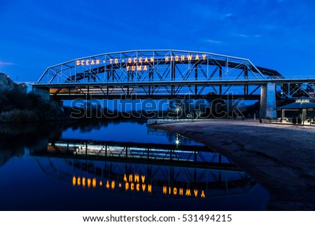 The Ocean to Ocean Bridge in Yuma Arizona.  Built in 1915 the bridge connects Arizona and California over the Colorado River