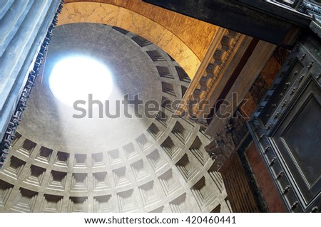 The Oculus of the Pantheon's Dome as Seen From Outside the Entrance Gate