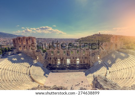 The Odeon of Herodes Atticus on the southwest slope of the Acropolis of Athens in Greece