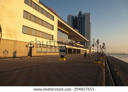 The Odessa Hotel at dawn. Odessa Ukraine - stock photo