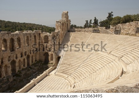 The Odeum theater, at the bottom of the sacred rock of the Acropolis in Athens, on South side, was constructed in the 2nd century AD (160-174) - stock photo