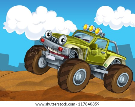 The off road cartoon car - illustration  for the children - stock photo