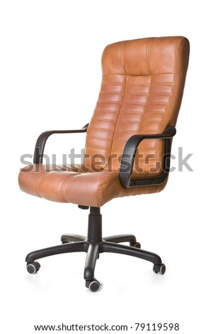 The office chair from brown imitation leather. Isolated - stock photo