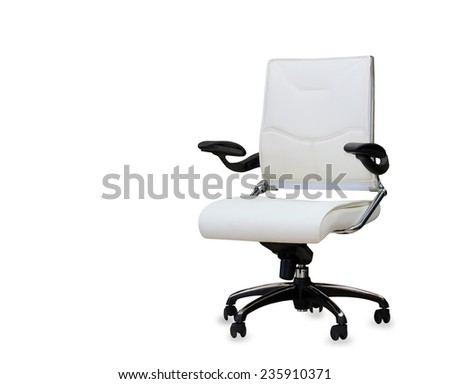 The office chair from white leather. Isolated - stock photo
