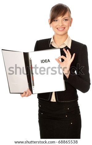 The office worker has good idea for a new project - stock photo