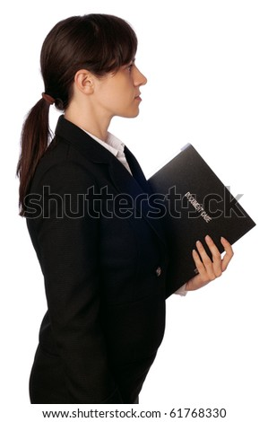 The office worker holds the document case in the hands