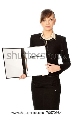 The office worker reviewing a certificate of new workers - stock photo