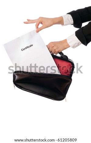 The office worker taking out the Certificate from a case