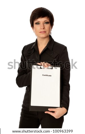 The office worker taking out the certificate from a document case - stock photo
