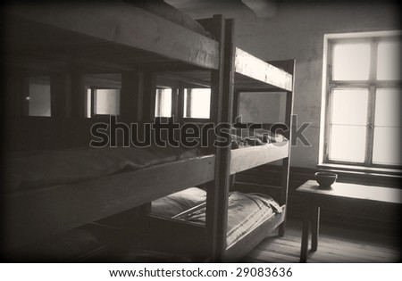 The officer's room in Auschwitz - stock photo