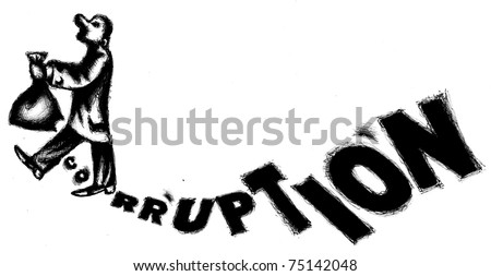 The official carry the money bag  with the hole. Allegory of corruption - stock photo