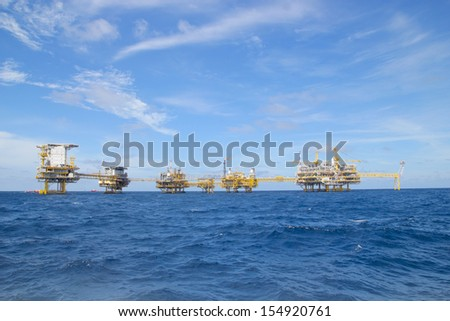 The offshore oil rig in the gulf of Thailand. - stock photo