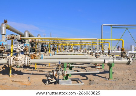 The oil manifold on Metering Station - stock photo