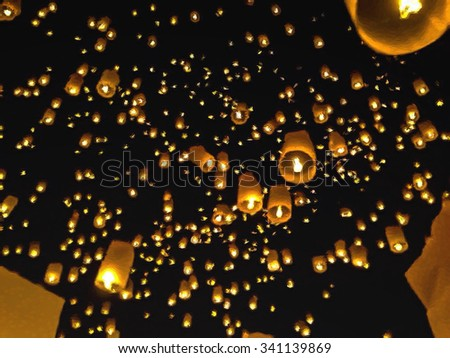 The oil painting of floating lantern in  loy krattong festival, Thailand - stock photo