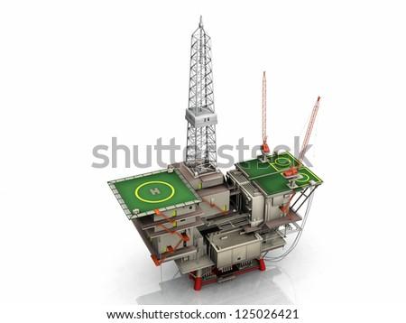the oil platform on white background - stock photo