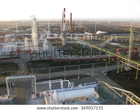 The oil refinery. Equipment for primary oil refining.                             - stock photo